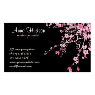 Cherry Blossom, Sakura Flowers - Pink Black Double-Sided Standard Business Cards (Pack Of 100)