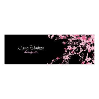 Cherry Blossom, Sakura Flowers - Pink Black Mini Business Card