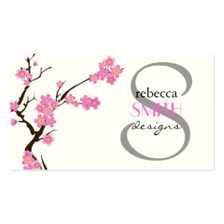 Cherry Blossom, Sakura Flowers - Pink Brown White Double-Sided Standard Business Cards (Pack Of 100)