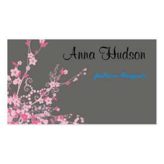 Cherry Blossom, Sakura Flowers - Pink Gray Double-Sided Standard Business Cards (Pack Of 100)