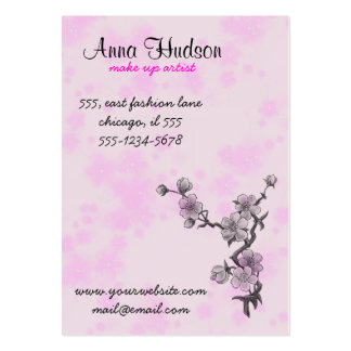 Cherry Blossom, Sakura Flowers - Pink Gray Large Business Cards (Pack Of 100)