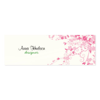 Cherry Blossom, Sakura Flowers - Pink White Double-Sided Mini Business Cards (Pack Of 20)