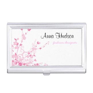 Cherry Blossom, Sakura Flowers - Pink White Case For Business Cards