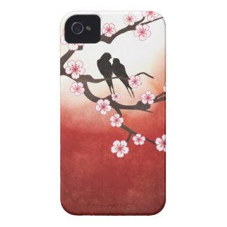 Cherry Blossom Sakura & Love Birds iPhone 4 Case-Mate Case