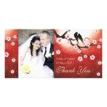 Cherry Blossom Sakura & Love Birds Thank You Photo Card