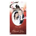 Cherry Blossom Sakura & Love Birds Thank You Photo Personalized Photo Card