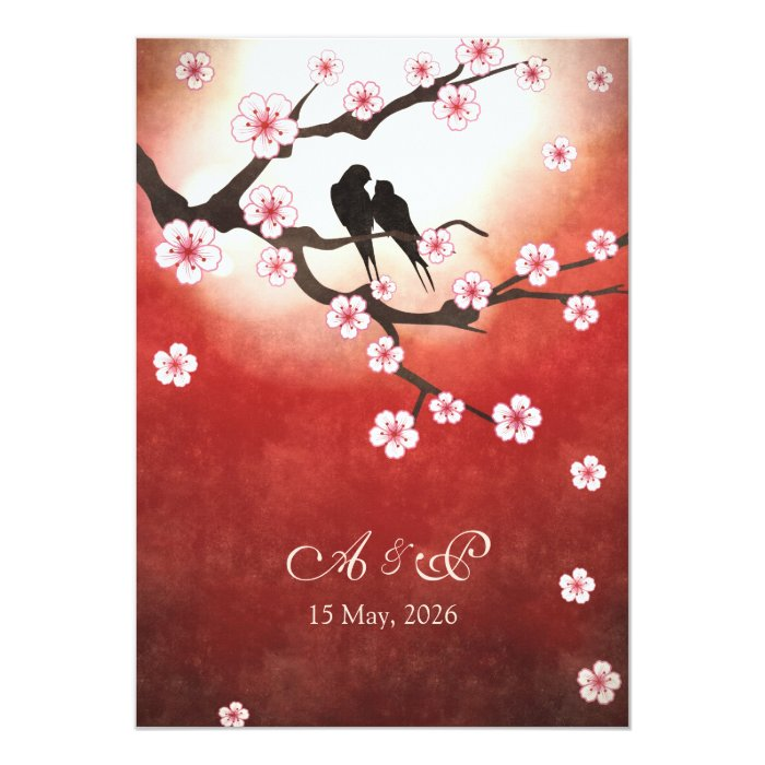 Cherry Blossom Sakura Love Birds Wedding Invite