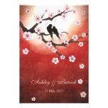 Cherry Blossom Sakura&Love BirdsReception Wedding Announcements