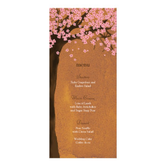 Cherry Blossom Sakura Sunset Watercolor Menu Card