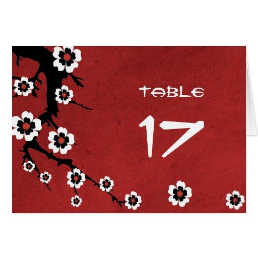 Cherry Blossom Sakura Table Number Card