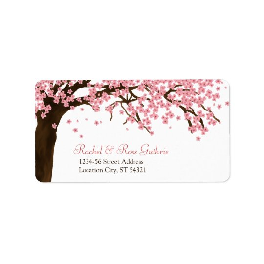 Cherry Blossom / Sakura Watercolor Wedding Address Label | Zazzle