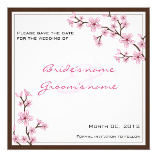 Cherry Blossom Save the Date cards Custom Invite