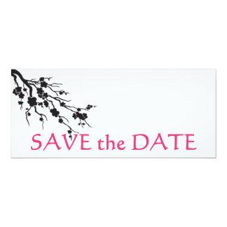 "cherry blossom; save the date 4"" x 9.25"" invitation card"