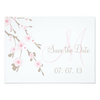 Cherry Blossom Save the Date Monogram Card