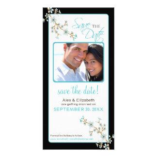 Cherry Blossom Save the Date Photocard (aqua/black Card