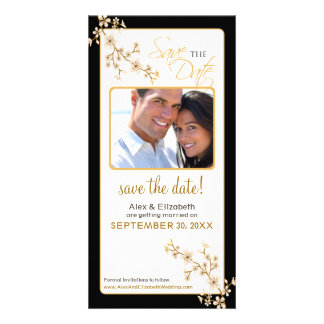 Cherry Blossom Save the Date Photocard (gold/black Photo Card