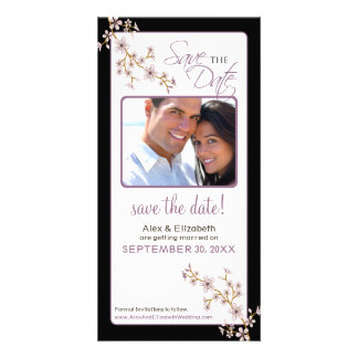 Cherry Blossom Save the Date Photocard (lilac/blac Card