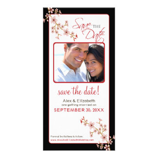 Cherry Blossom Save the Date Photocard (red/black) Photo Card