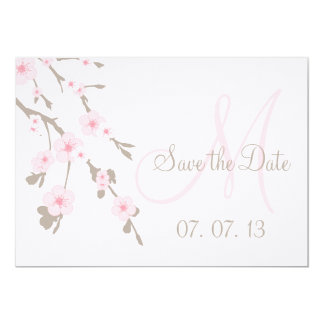 Cherry Blossom Save the Date Pink Taupe 5x7 Paper Invitation Card