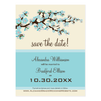 Cherry Blossom Save the Date Postcard (blue)
