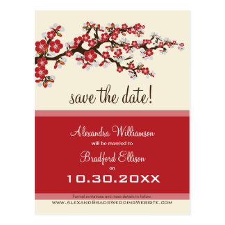 Cherry Blossom Save the Date Postcard (cranberry)