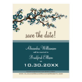 Cherry Blossom Save the Date Postcard (teal)