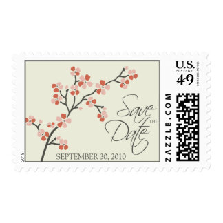 Cherry Blossom Save-the-Date Wedding 2 :: salmon Postage