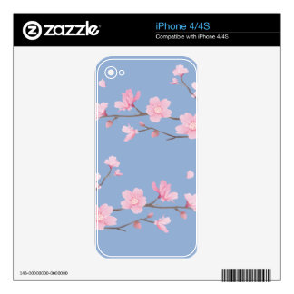Cherry Blossom - Serenity Blue Decals For iPhone 4S