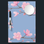 """Cherry Blossom - Serenity Blue Dry Erase Board With Mirror<br><div class=""""desc"""">I have a passion for nature and especially love anything with flowers. For this piece I wanted to create a simple,  yet elegant flower infused with a slight feeling of the orient.</div>"""