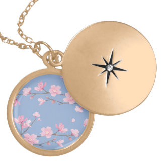 Cherry Blossom - Serenity Blue Locket Necklace