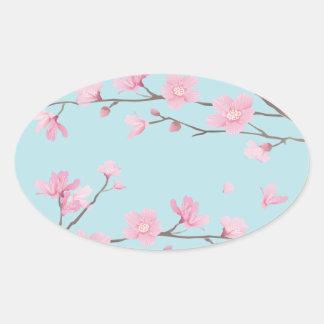 Cherry Blossom - Sky Blue Oval Sticker