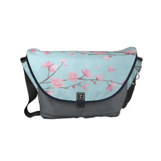 Cherry Blossom - Sky Blue Small Messenger Bag