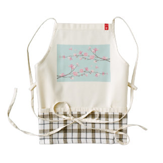 Cherry Blossom - Sky Blue Zazzle HEART Apron