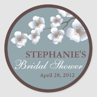 Cherry Blossom Springtime Bridal Shower Dusty Blue Classic Round Sticker