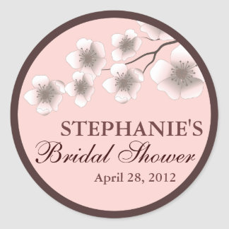 Cherry Blossom Springtime Bridal Shower Label Pink
