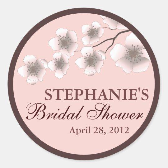 Cherry Blossom Springtime Bridal Shower Label Pink