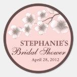 Cherry Blossom Springtime Bridal Shower Label Pink Sticker