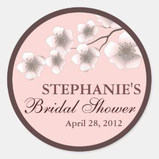 Cherry Blossom Springtime Bridal Shower Label Pink Classic Round Sticker