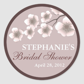 Cherry Blossom Springtime Bridal Shower Label Plum Classic Round Sticker