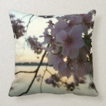 Cherry Blossom Sunset in Washington DC Throw Pillow