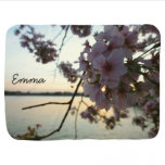 Cherry Blossom Sunset Personalized Swaddle Blanket