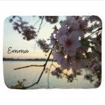 Cherry Blossom Sunset Personalized Stroller Blanket
