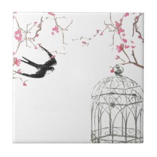 Cherry blossom, swallow, birdcage design tile