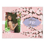 "Cherry Blossom Sweet 16 Birthday Party Invitation 4.25"" X 5.5"" Invitation Card"