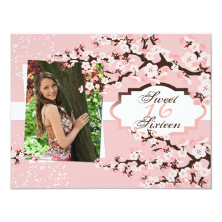 Cherry Blossom Sweet 16 Birthday Party Invitation