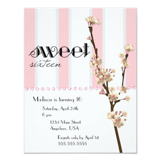 Cherry Blossom Sweet 16 Invitation