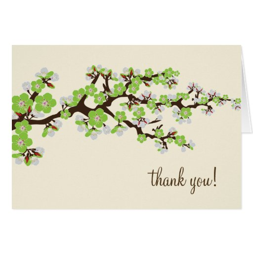 Cherry Blossom Thank You Card w/ Photo (apple)