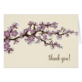 Cherry Blossom Thank You Card w/ Photo (lavender)
