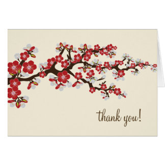 Cherry Blossom Thank You Card w/ Photo (red)