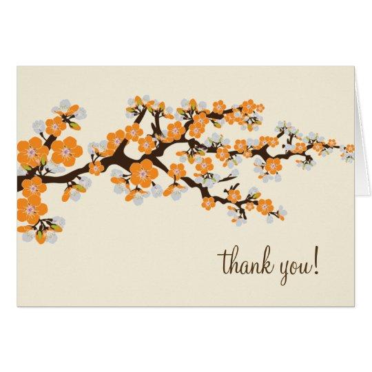Cherry Blossom Thank You Card w/ Photo (tangerine)
